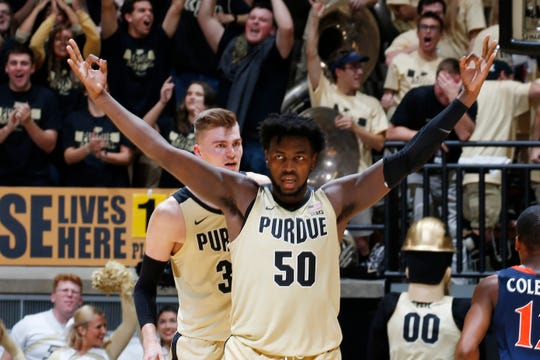 Dec 4, 2019; West Lafayette, IN, USA; Purdue Boilermakers forward Trevion Williams (50) reacts in a game against the Virginia Cavaliers during the second half at Mackey Arena. Mandatory Credit: Brian Spurlock-USA TODAY Sports