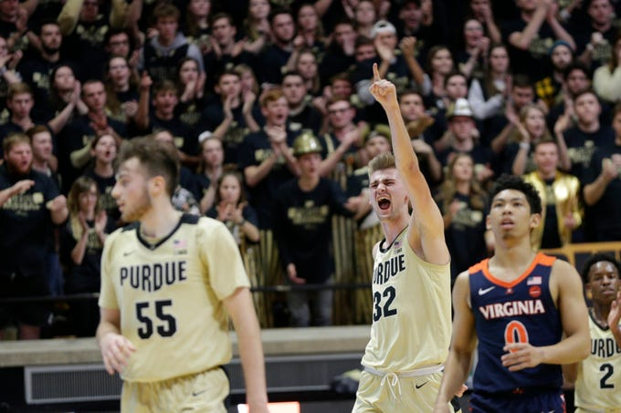 Purdue center Matt Haarms (32) reacts after a rebound during the second half of a NCAA men's basketball game, Wednesday, Dec. 4, 2019 at Mackey Arena in West Lafayette.