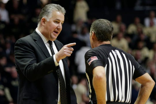 Purdue head coach Matt Painter talks with an official during the second half of a NCAA men's basketball game, Wednesday, Dec. 4, 2019 at Mackey Arena in West Lafayette.
