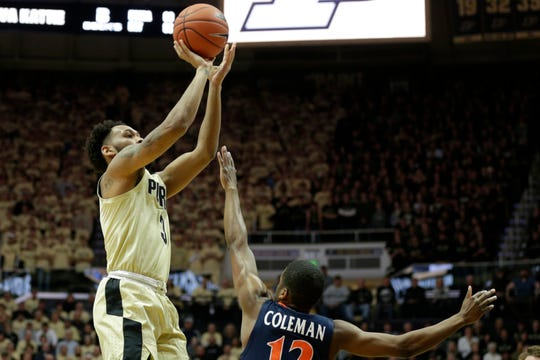 Purdue guard Jahaad Proctor (3) goes up for three during the first half of a NCAA men's basketball game, Wednesday, Dec. 4, 2019 at Mackey Arena in West Lafayette.