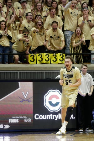 Purdue guard Sasha Stefanovic (55) celebrates during the first half of a NCAA men's basketball game, Wednesday, Dec. 4, 2019 at Mackey Arena in West Lafayette.