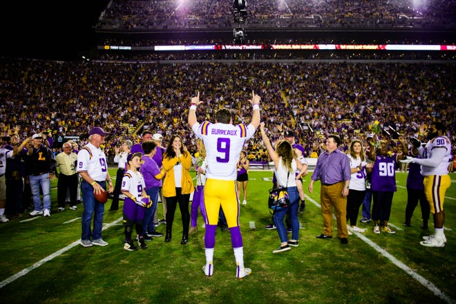 """LSU quarterback Joe Burrow wears a """"Burreaux"""" jersey before the Nov. 30, 2019, game against Texas A&M. It was Burrow's last game in Tiger Stadium."""