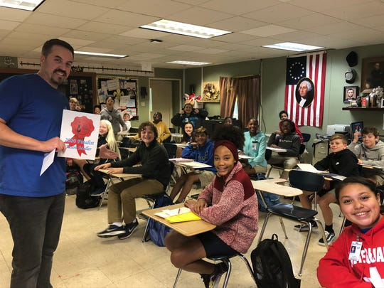 L.J. Alleman Fine Arts Academy teacher Jason Muller was one of 16 finalist for the 2020 Lafayette Education Foundation Teacher Awards. The LEF Pin Patrol and STM administrators surprised Muller in his classroom Thursday, Dec. 5.