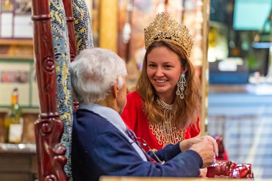 Reporter Victoria Dodge is made Queen for a day by Dynasty Collection owners Tanya and Tommy Cain. Dynasty Collection is one of the few Mardi Gras crown makers left in the country. Wednesday, Dec. 4, 2019.