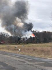 Firefighters were battling a blaze in Unadilla Township at about 11 a.m. Thursday.