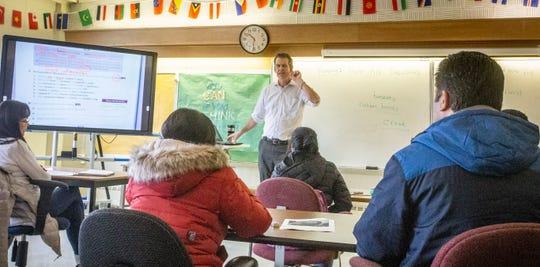 Adult education class in Lansing School District's program Thursday, Dec. 5, 2019 at Dr. Eva L. Evans Welcome Center.