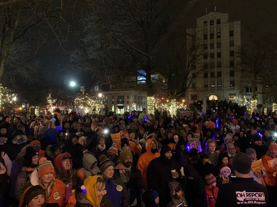 Hundreds of Mansfield and Lucas football supporters braved the cold Dec. 4 for a pep rally in downtown Mansfield ahead of the teams state championship games.