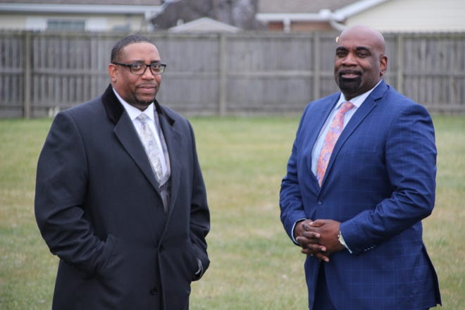 Bishop Gregory Draper, right, of Mt. Zion Missionary Baptist Church and Bishop Corredon Rogers of Christ United Ministries have developed aplan to address what's been termed ahousing crisis in Marion. They have acquired two lots on Grant Street from the Marion County Land Bank and one on Patten Streetfrom the City of Marion Land Bank. The two Grant Street locations are adjacent toMt. Zion Missionary Baptist Church, while the Patten Street lot is a half-mile west of the church.
