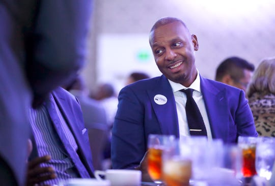 University of Memphis Head Basketball Coach penny Hardaway speaks with fellow attendees during the Greater Memphis Chamber's annual luncheon at the Peabody Hotel on Thursday, Dec. 5, 2019.