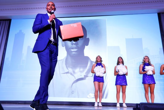 University of Memphis Head Basketball Coach Penny Hardaway speaks during the Greater Memphis Chamber's annual luncheon at the Peabody Hotel on Thursday, Dec. 5, 2019.