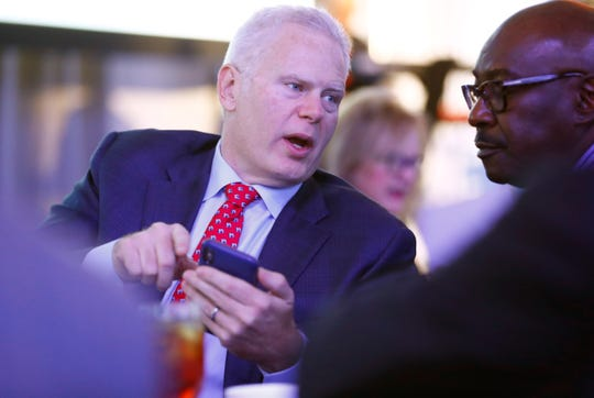 Former Chamber Chairman Richard Smith speaks to attendees at the Greater Memphis Chamber's annual luncheon at the Peabody Hotel on Thursday, Dec. 5, 2019.