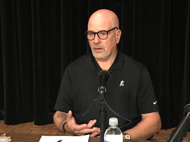 Robakowski speaks at the community listening session held Wednesday night.