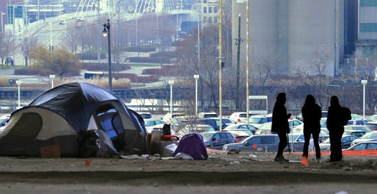Only a few tents remain at the homeless camp located between St. Paul Avenue and Clybourn Street. west of Sixth Street. A clean water project is being created in that area, as well as a possible mountain bike course.