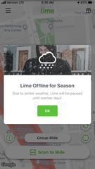 Lime scooters' app notified users that it is offline for the season on Thursday, Dec. 5.