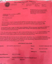 notice from City of Montgomery for demolition of home