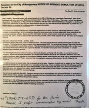 Letter in response to demolition of property