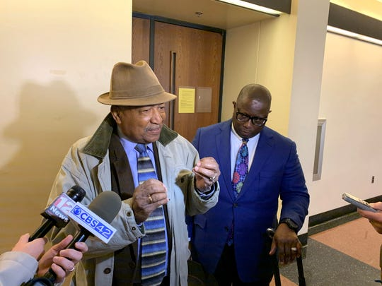 Alabama Democratic Conference chair Joe Reed speaks to the media on December 5, 2019 after a hearing in a lawsuit over the governance of the Alabama Democratic Party. To the right of Reed is attorney A. Wesley Pitters.