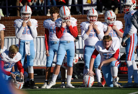 USJ react after the loss to Davidson Academy in the Division II-A high school football championships at Tucker Stadium in Cookeville, Tenn., Thursday, Dec. 5, 2019.