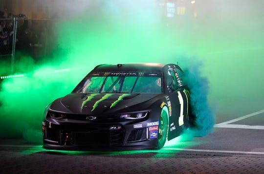 Kurt Busch during the NASCAR Burnouts on Broadway event in downtown Nashville, Tenn., Wednesday, Dec. 4, 2019.