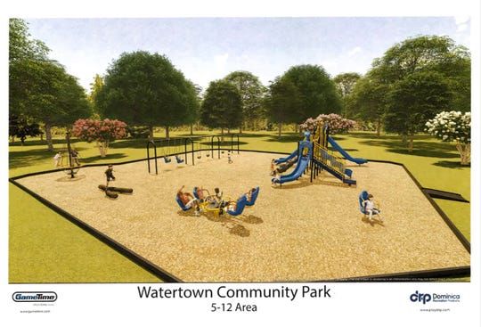 A rendering of a Watertown community park playground that has an active fundraising campaign.