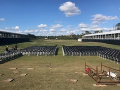 Work continues on the setup on Thursday, Dec. 5, 2019 for Live Fest, the concert featuring Darius Rucker and Lady Antebellum, that will be on the Tiburón Golf Club driving range on Saturday, Dec. 14, 2019 during the QBE Shootout golf tournament.