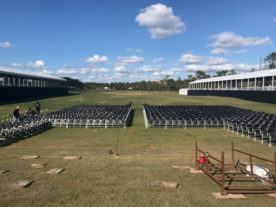 Work continues on the setup on Thursday for Live Fest, the concert featuring Darius Rucker and Lady Antebellum, that will be on the Tiburón Golf Club driving range on Saturday, Dec. 14 during the QBE Shootout golf tournament.