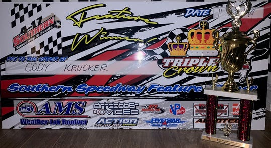 A picture of the championship trophy Cody Krucker earned for winning the pro trucks season title at 4-17 Southern Speedway in Punta Gorda. Krucker, 14, won the championship race on Nov. 30, 2019, to win the title in his first full season driving trucks.