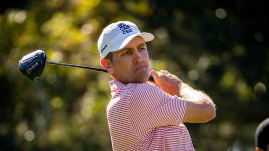 Brendon Todd watches his tee shot down the second fairway during the third round of the RSM Classic golf tournament in St. Simons Island, Ga., Saturday, Nov., 23, 2019. Todd will replace Brandt Snedeker in the 2019 QBE Shootout field.