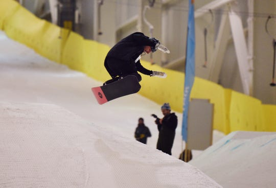 Ski and snow boarder enthusiasts try out on the slope for the first time during the grand opening of Big SNOW American Dream in East Rutherford  on 12/05/19.