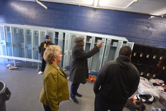 The city is looking to spend close to $1 million to renovate the field house at Bauerle Field, where Paterson's two high schools play their home football and soccer games.The city business administrator, Vaughn McKoy, tours the field house with commissioner Emanuel Capers and superintendent Eileen Shafer to go over the renovation plans at the site.