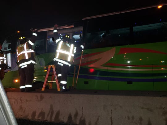 Firefighters respond to a bus crash on Route 80 Dec. 4, 2019.