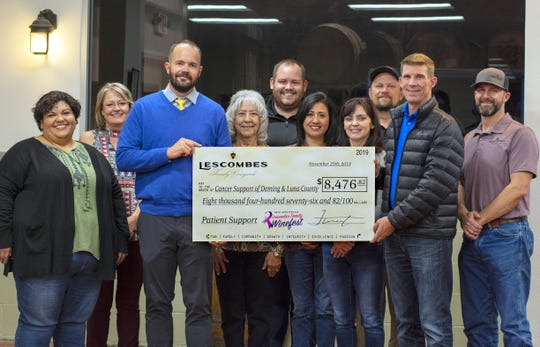 Pictured, from left, are: Cancer Support Board members Joanna Costilla, Kristie Hobbs, Jarod Hofacket, Molly Glover, John Richmond, Lila Jasso, Michelle Mooradian, Charlie Shultz, Lescombes Family Vineyards CEO Brandon Young and Winery Operations Manager Jody Young.