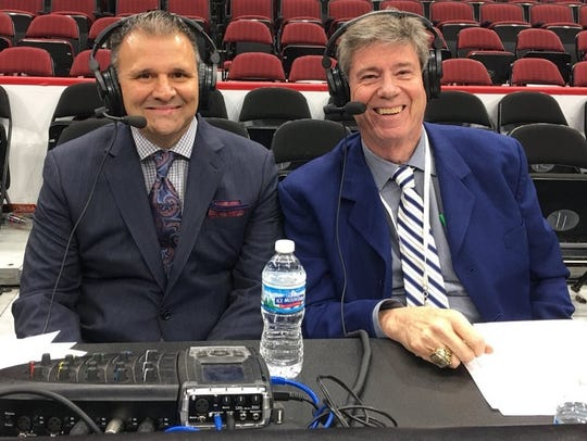Play-by-play radio announcer Jack Nixon, right, will miss some time from covering New Mexico State athletics due to fatigue.