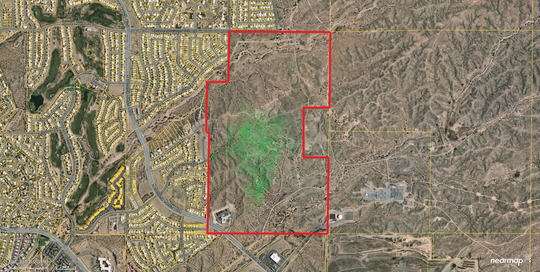 Map of the potential area for the East Mesa Public Recreational Complex, which encompasses 364 acres. The completed complex will be much less at first.