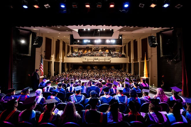 Western New Mexico University fall graduates were honored with a commencement ceremony on Friday, December 13, 2019, at 2 p.m. in the Fine Arts Center Theatre. Pictured are graduates at last fall's ceremony.