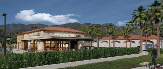 A rendering of the new Starbucks with drive-thru planned at the La Quinta Village shopping center, on the corner of Washington Street and Calle Tampico.