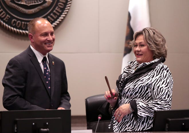 Glenn Miller and Lupe Ramos Amith pictured at Indio City Hall in 2019.