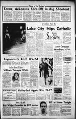 Newspaper clippings of the 1969 Pensacola Catholic Crusader football team, which played the city's first home playoff football game.
