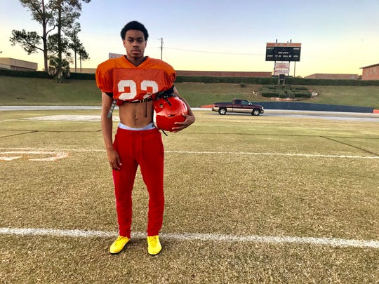 Escambia senior Dayshon Dwight at practice at Emmitt Smith Field on Dec. 4, 2019. Dwight sacrificed his No. 15 jersey for star running back Frank Peasant in the Gators' state semifinal win over Gaither last Friday.