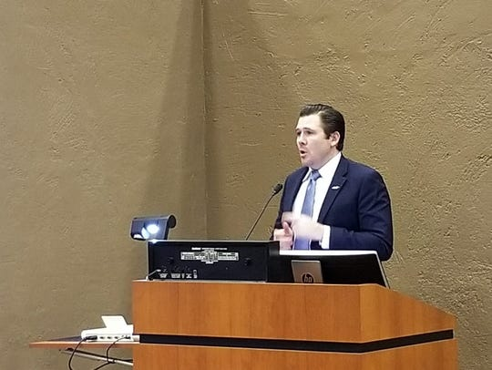 Carter Unger, the developer behind Southbridge II, speaks during the Scottsdale City Council meeting on Dec. 5, 2019.