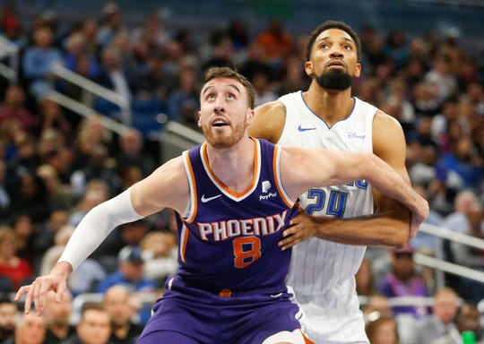 Dec 4, 2019; Orlando, FL, USA; Phoenix Suns forward Frank Kaminsky (8) guards against Orlando Magic center Khem Birch (24) during the second quarter at Amway Center. Mandatory Credit: Reinhold Matay-USA TODAY Sports