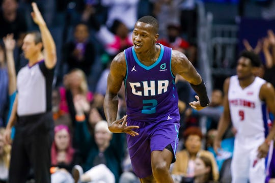 Hornets guard Terry Rozier celebrates a three-pointer against the Pistons on Nov. 27.