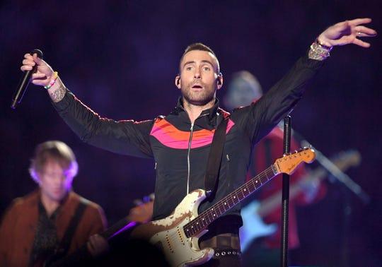 Adam Levine of Maroon 5 performs during the Pepsi Super Bowl LIII Halftime Show at Mercedes-Benz Stadium on February 03, 2019 in Atlanta, Georgia.