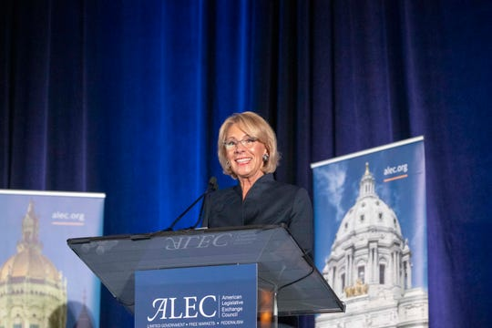 U.S. Secretary of Education Betsy DeVos participates in the American Legislative Exchange Council's 2019 States & Nation Policy Summit at Scottsdale on Dec. 5, 2019.