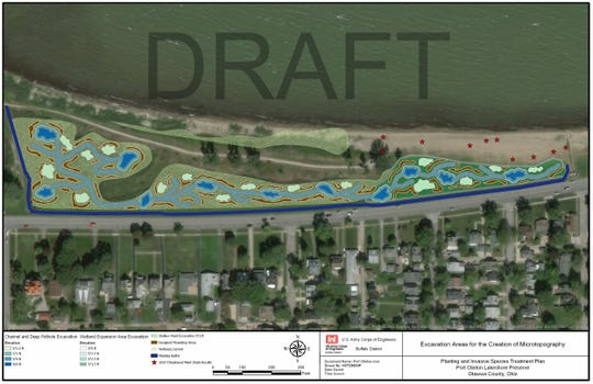 This topographical map shows areas being excavated as part of the wetlands restoration project along East Perry Street in Port Clinton.