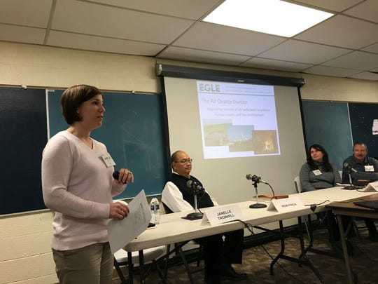 Michigan Department of Environment, Great Lakes, and Energy Air Quality Division environmental engineer Janelle Trowhill speaks during an informational session at Palmer Park Recreation Center on Dec. 4, 2019.