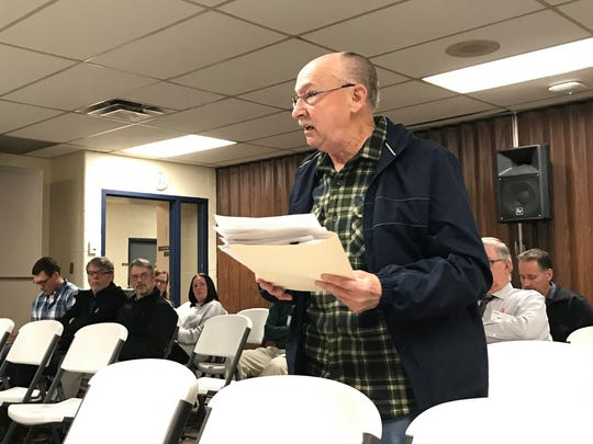 Port Huron Councilman Ken Harris voices his concerns during a meeting at Palmer Park Recreation Center on Dec. 4, 2019.