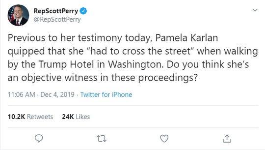 A Dec. 4, 2019 tweet sent by U.S. Rep. Scott Perry, R-Carroll Township.