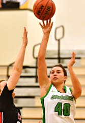 Haley Luckabaugh, right, seen here in a file photo, had program-record 37 points on Monday night in York College's win over Elizabethtown. She was 9 for 11 from 3-point range and also collected a career-high 10 rebounds. Her nine 3-pointers were also a program record.