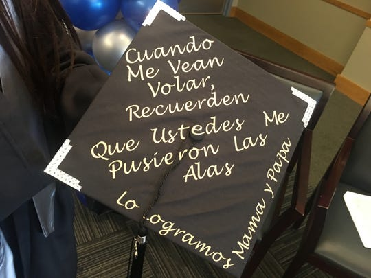 Perla Gonzalez Roman pays tribute to her parents on the graduation cap she will wear Saturday.